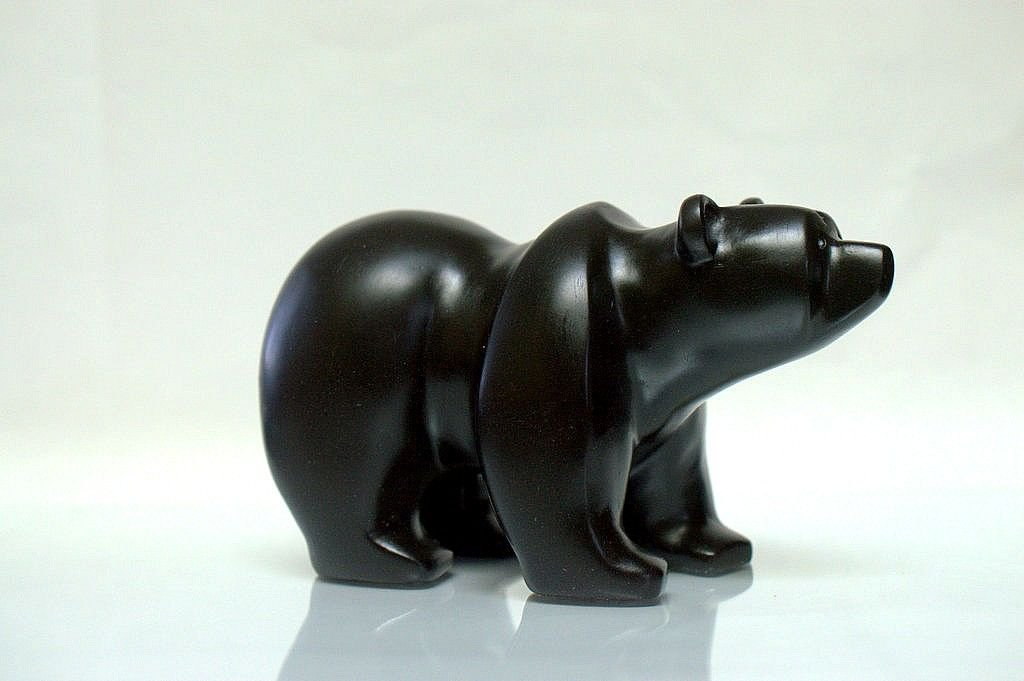 Black stone bear, hand carved figurine.