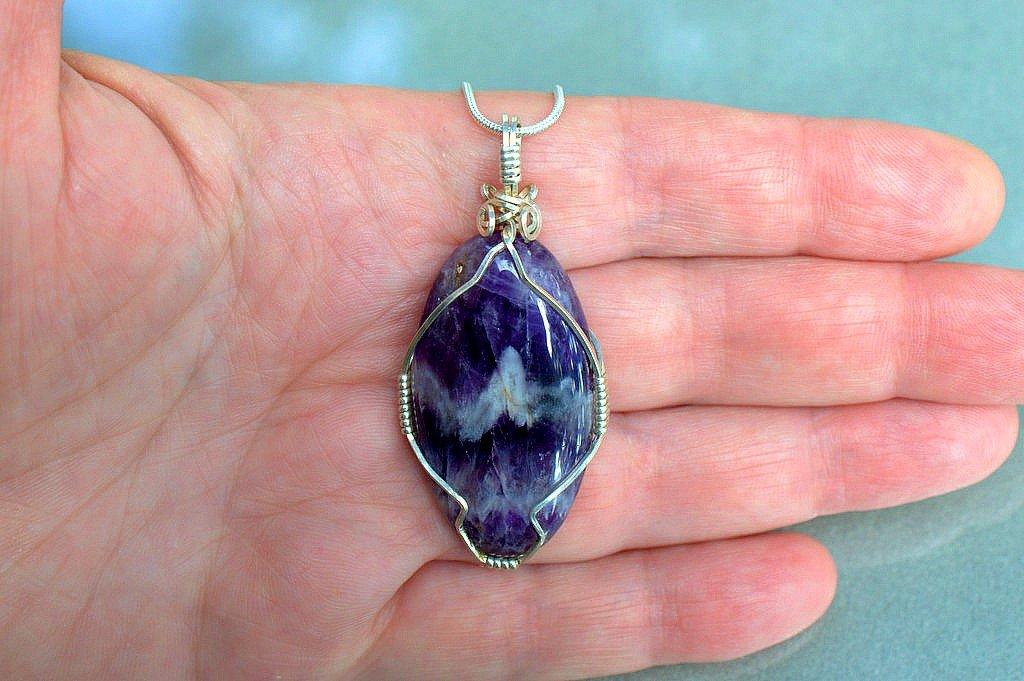 Deep purple crystal necklace, Chevron Amethyst pendant
