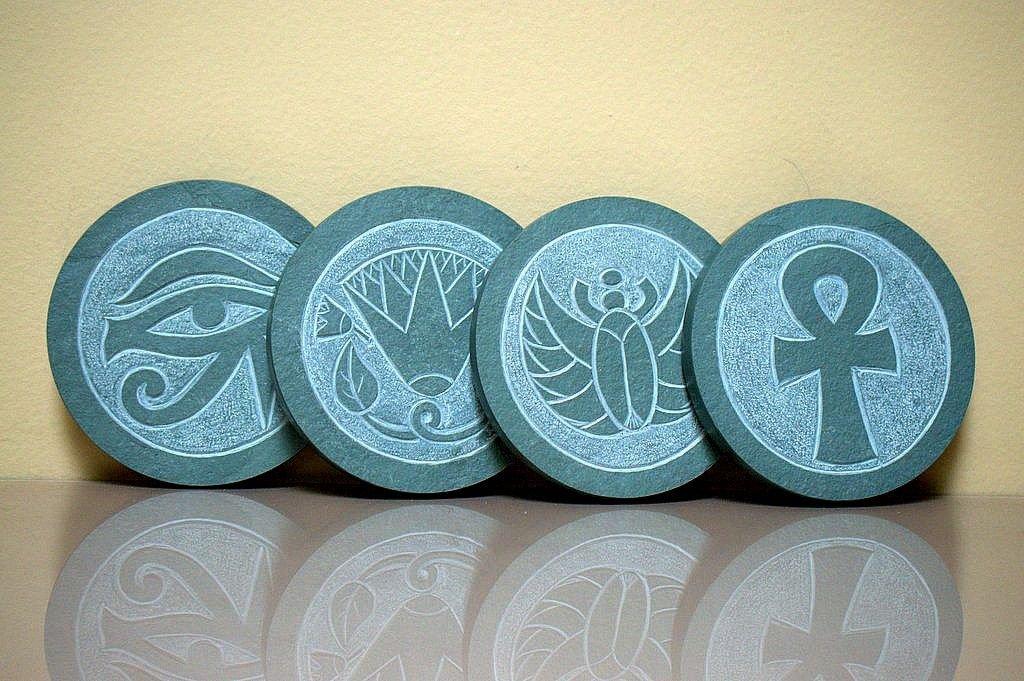 Egyptian symbols, stone carving, slate  coasters |sagastone
