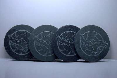 Custom eagle carving, stone coasters |sagastone