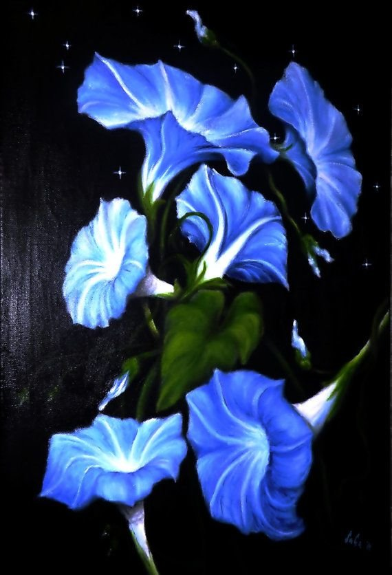 Morning glory, blue tone original oil panting on canvas