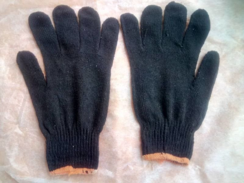Cotton Safety Hand Gloves Black Color.