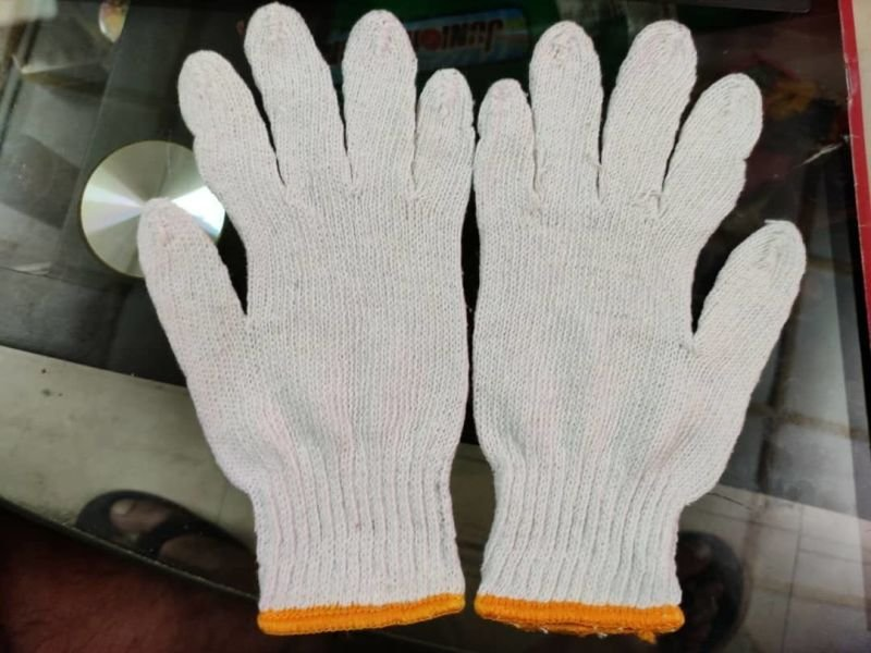 Cotton Safety Hand Gloves White Color.