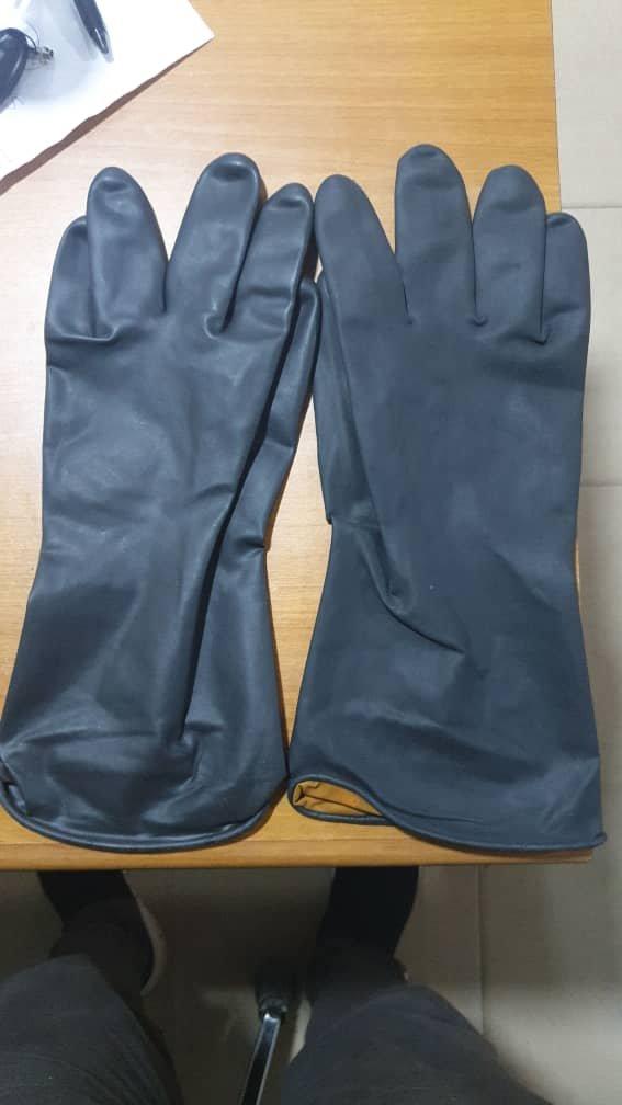 Black Premium Rubber Safety Hand Gloves.