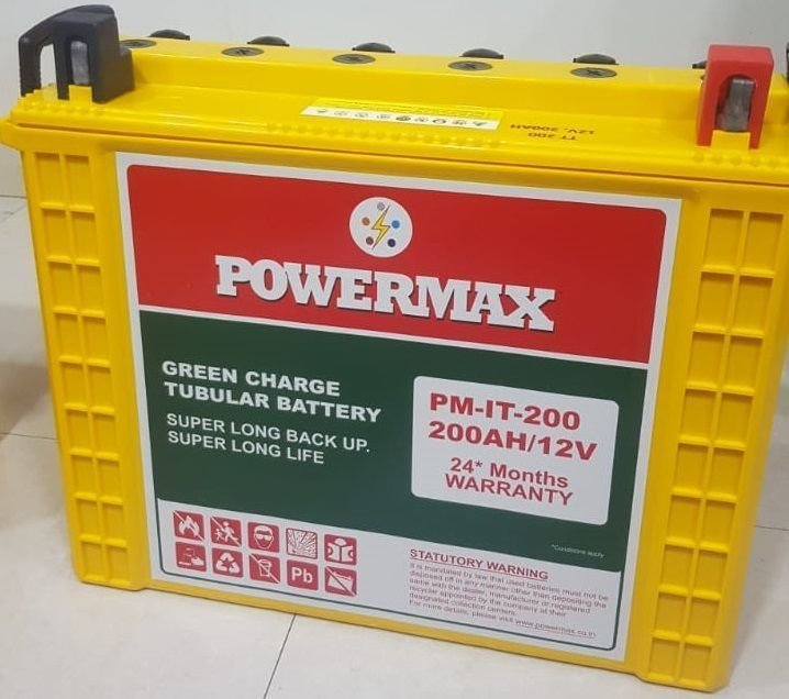 PowerMax Tall Tubular Batteries 200 Ah (24 Months Warranty) Made in India. - Copy