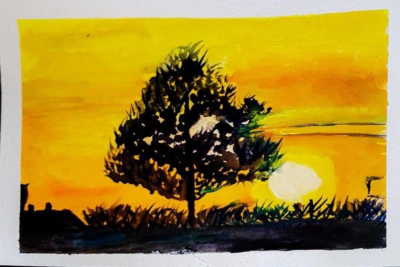 ondergaande zon, Los Ramos, Spanje