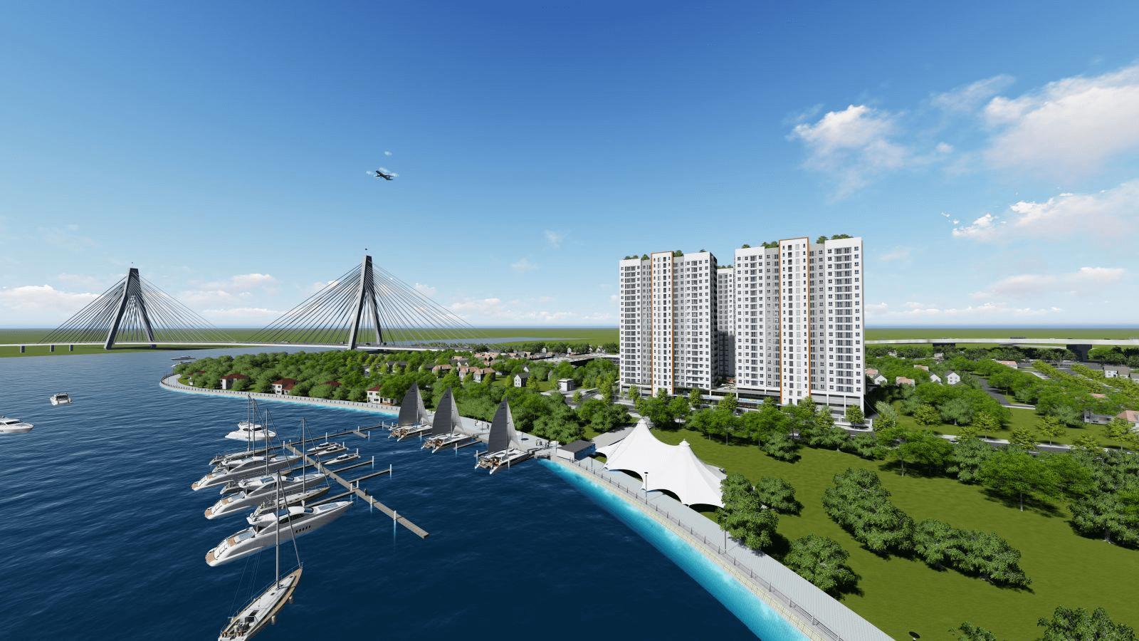 Phối cảnh 1 dự án nằm ven sông có nhiều tàu thuyền đậu trên sông