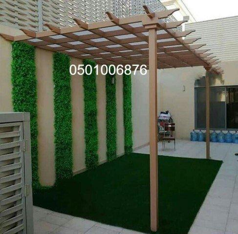تركيب برجولات حديد خشبية للحدائق واسطح المنازل بالرياض بأشكال عصري