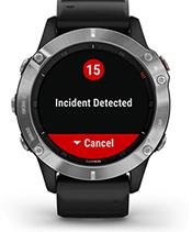 fēnix6 avec affichage des fonctions de suivi et de sécurité