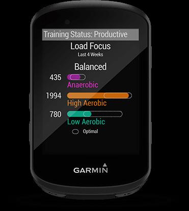Edge 530 avec écran du suivi des dynamiques