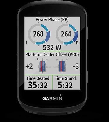 Edge 530 avec écran des dynamiques de cyclisme