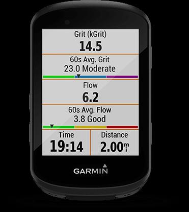 """Edge 530 avec écran de """"Difficulté - Grit"""" et de """"Constance - Flow"""""""