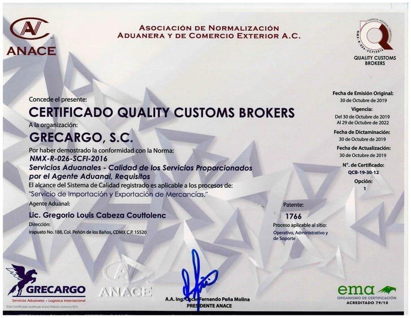 CERTIFICADO NMX-R026-SCFI-2016