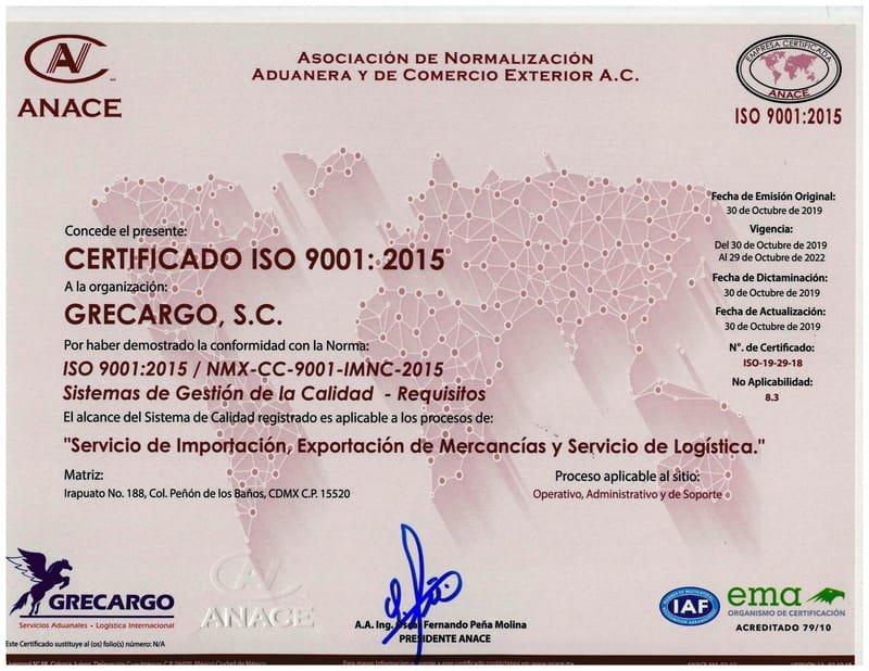 CERTIFICADO ISO 9001- 2015