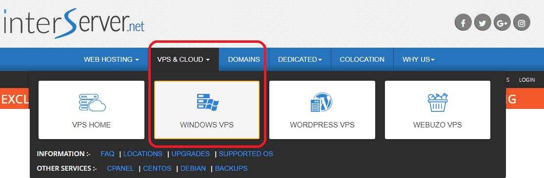 صورة موقع Intervserver واختيار Windows VPS