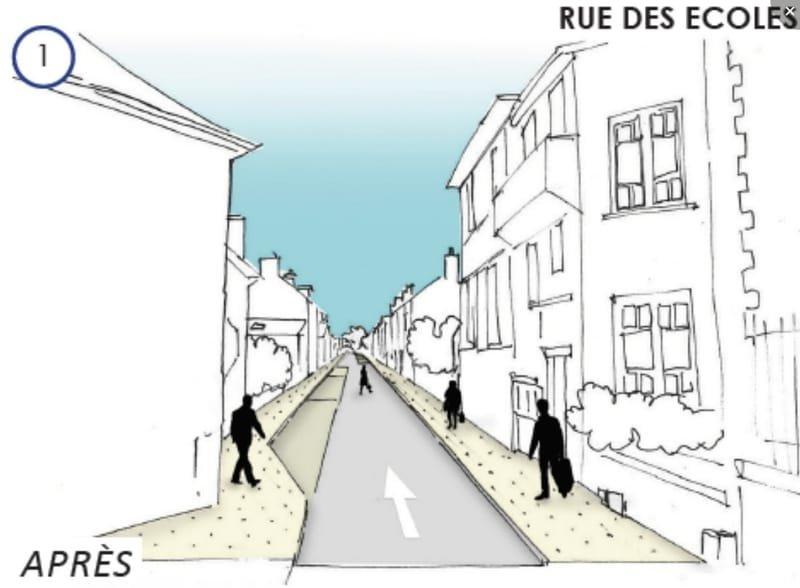 Plan rue des écoles d'après le contrat d'objectifs