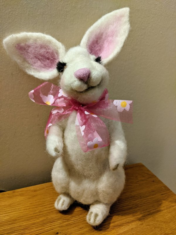 Needlefelted Easter Bunny, by Jo