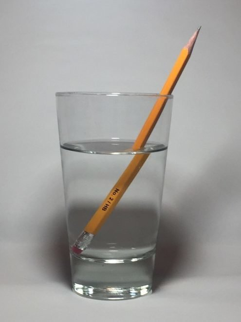 Question n°7 : Pourquoi le bâton, plongé dans l'eau, semble-t-il cassé ?