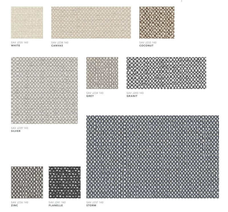 Outdoor Fabric Colors & Metal Finish