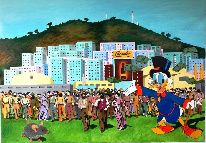 """SINGUERLÍN or ABOUT CAPITALISM"". 2019. Oil on canvas. cm.114x165"