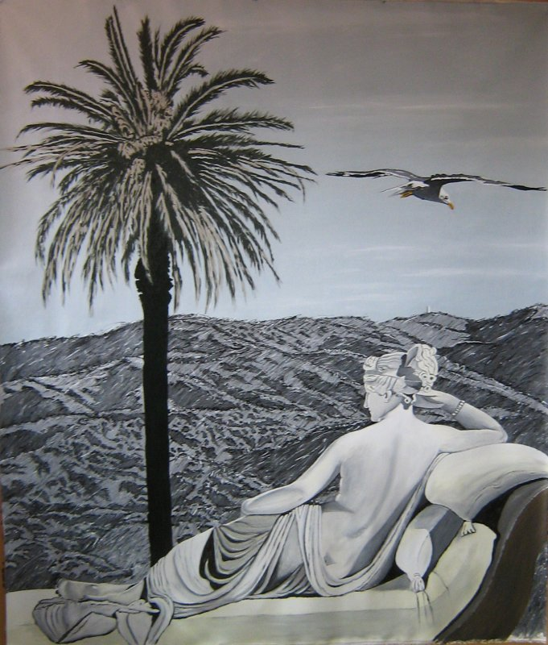 """PAOLINA, THE HILLS, THE BIRD AND THE PALM TREE"". 2008. Acrilic on canvas. cm.210x180"