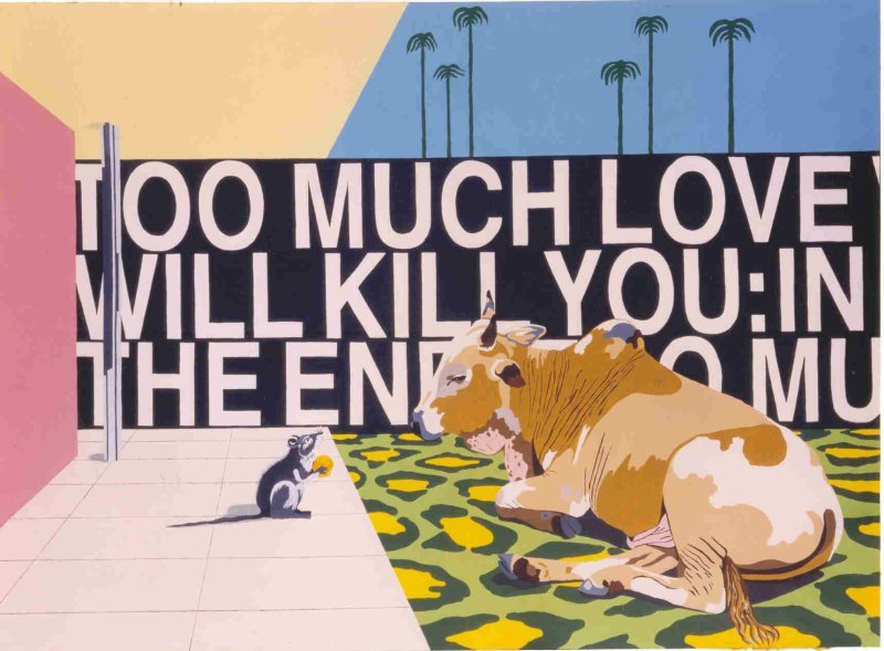 """LOVE SONG No. 2"". 1998. Acrilic on canvas. cm.185x275. <SACRED COWS>. Bianca Pilat Contemporary Art, Chicago."