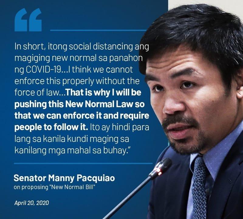 Manny Pacquiao:Nilalayon ng Bagong Normal Bill 'na turuan ang pampublikong disiplina sa harap ng pandemya