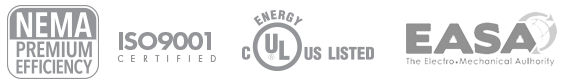 NEMA Premium Efficiency, ISO9000 Certified UL US Listed EASA