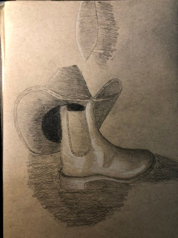 Still-Life Cowboy Hat and Boot