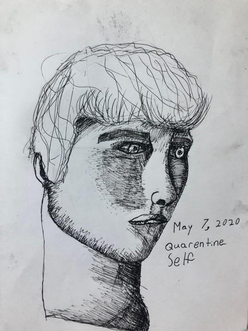Crosshatching Self Portrait