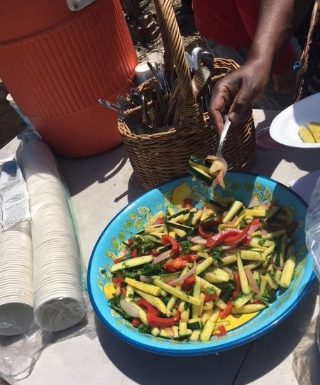 Red and yellow peppers with zucchini