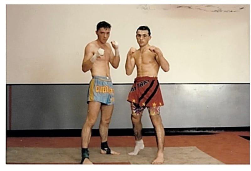 Avec Thomas Seiler  Champion du monde de Kickboxing (mon entraineur )