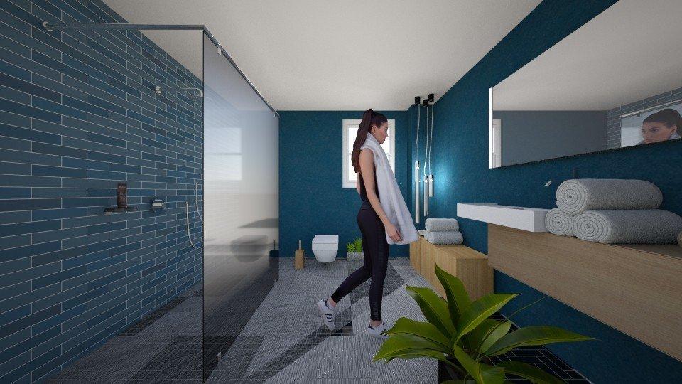 חדר רחצה כחול כשכחול הופך לשחור החדש