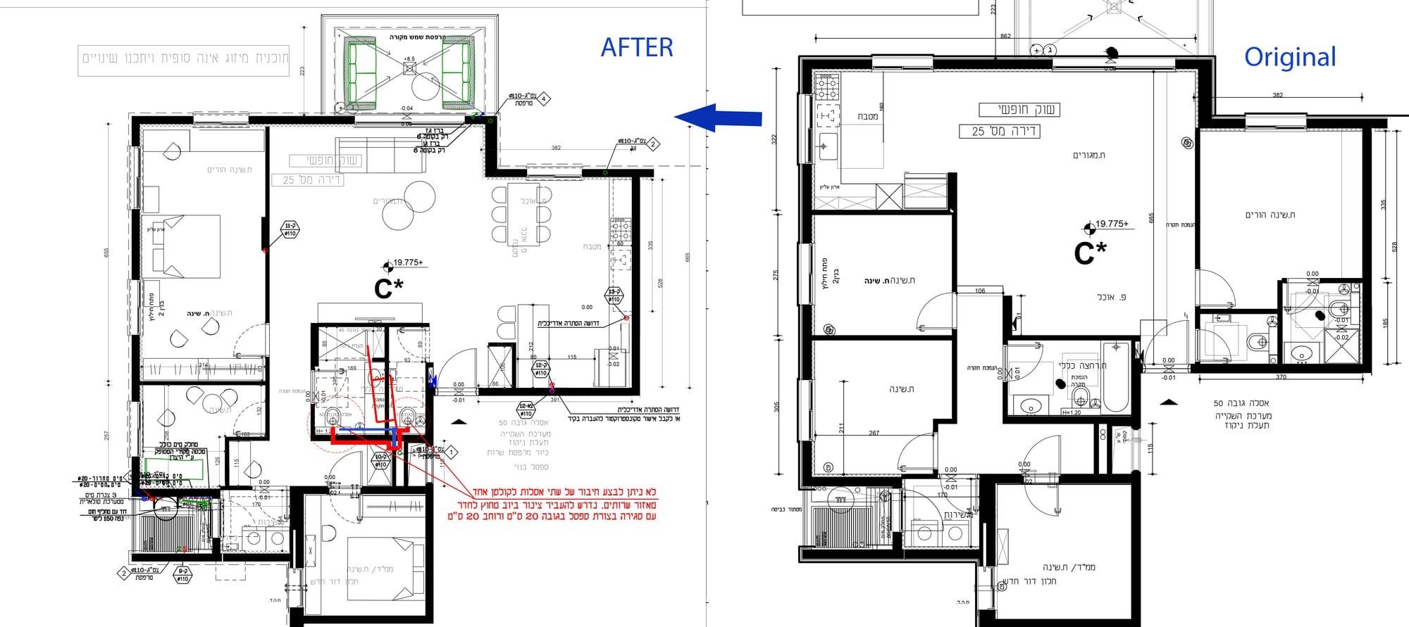 תוכנית הדירה מקור מול שינויי דיירים