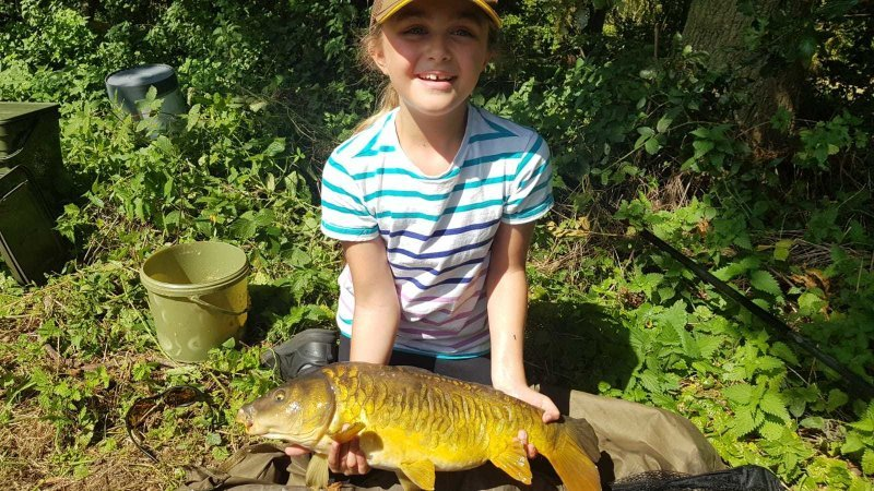 Sophia with a Pond House Carp