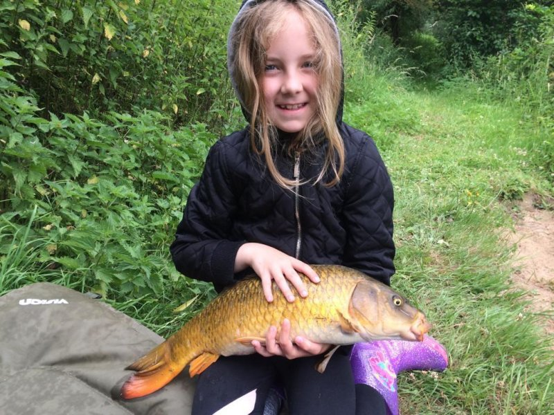 Kaylee with a Pond House Carp
