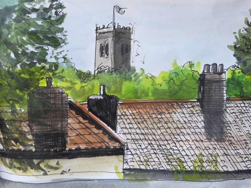 View of St. Mary's Church, pen and watercolour, 18cm x 13cm, £50 All proceeds to the NHS