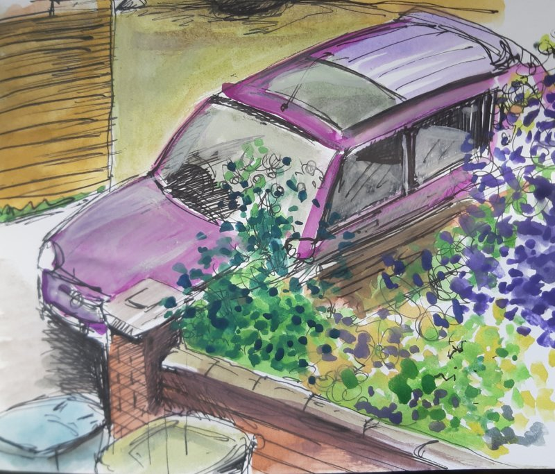 Purple Car, water colour and pencil, 18cm x 13cm, £50 All proceeds to the NHS