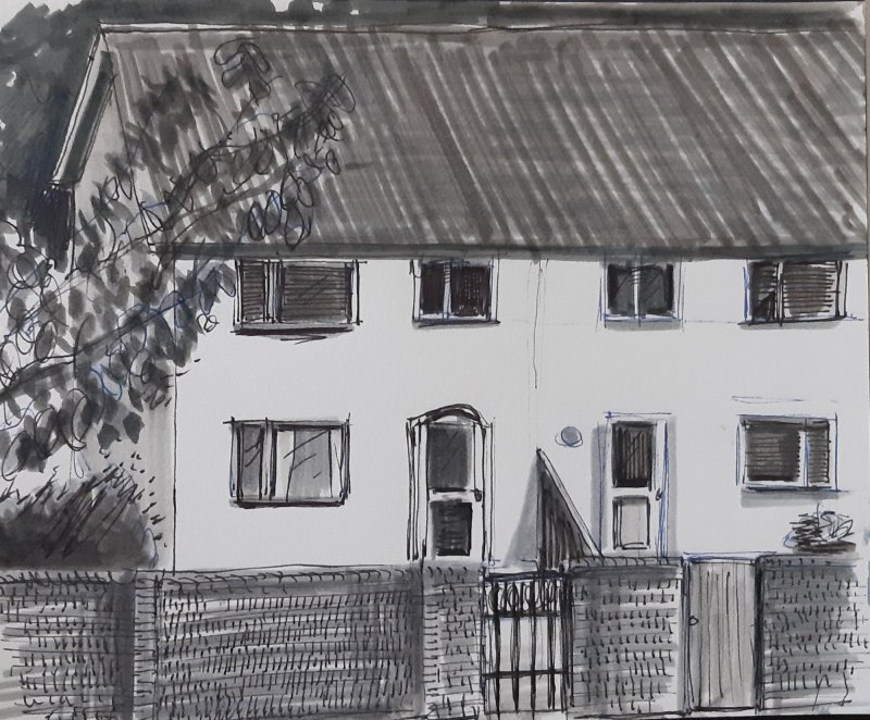 Houses, felt pen, 18cm x 13cm, £50 all proceeds to the NHS