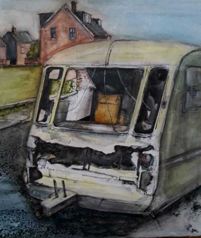 Caravan, 40 x 40cm, mixed media on canvas 2018