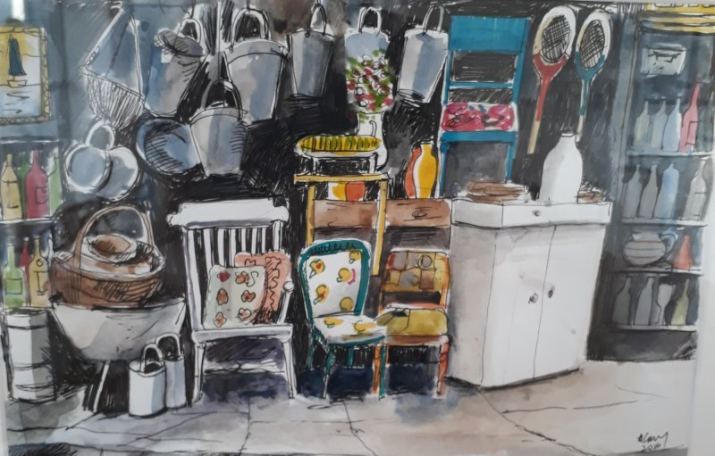 Antiques Shop, Ipswich mixed media on paper 2018 £150