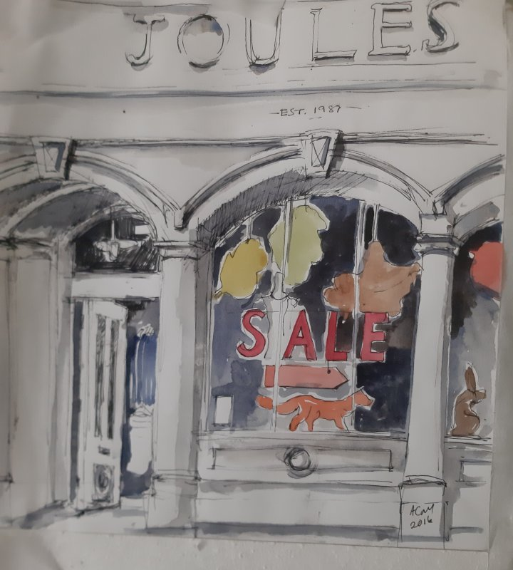 Joules shop front, pen and wash, 2018 £150