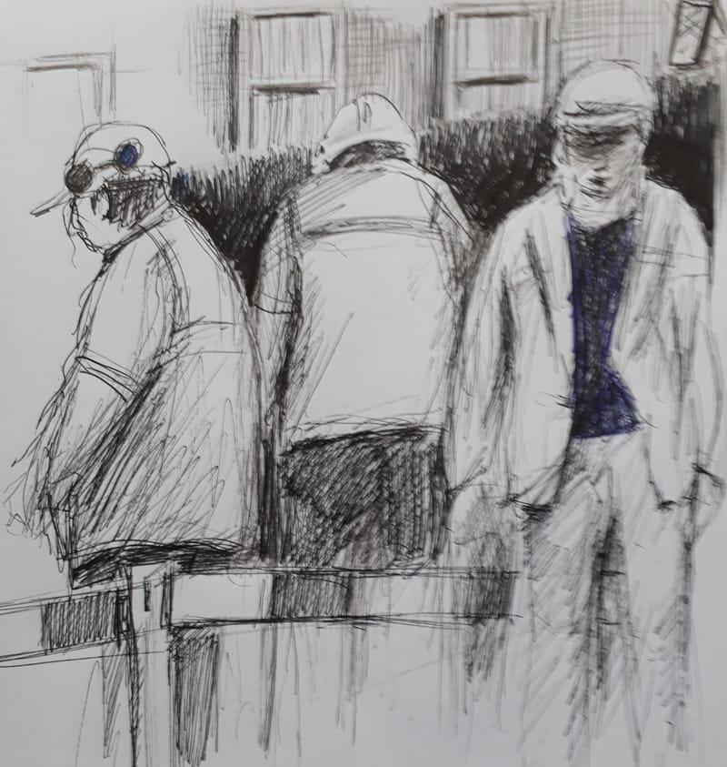 Work Men, Leeds pen and paper 25cm x 25cm £80