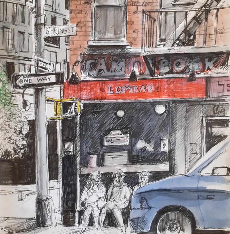 Greenwich Village, New York pen and wash 2019