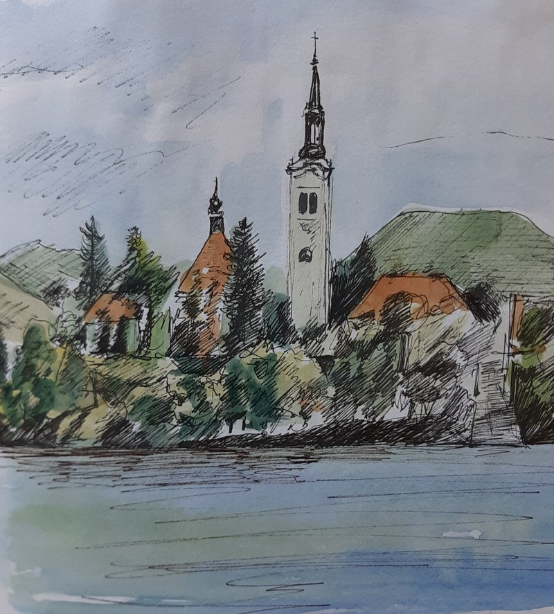 Lake Bled, Slovenia, pen and wash 25cm x 25cm 2014