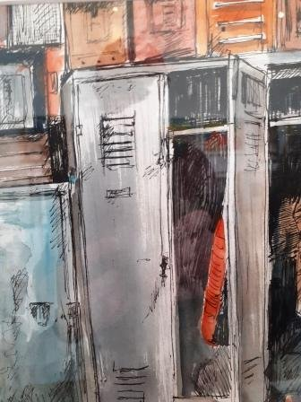 Lockers at the Solidarity Museum, Gdansk 2019, pen and wash