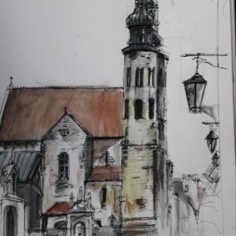Krakow pen and wash, 24cm x 25cm 2019