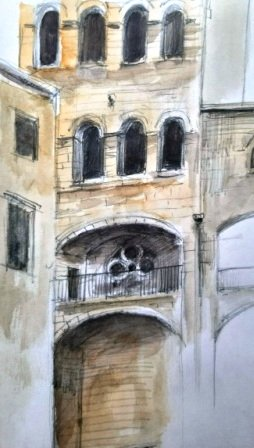 Gotic Area, Barcelona, pen and wash, 2015