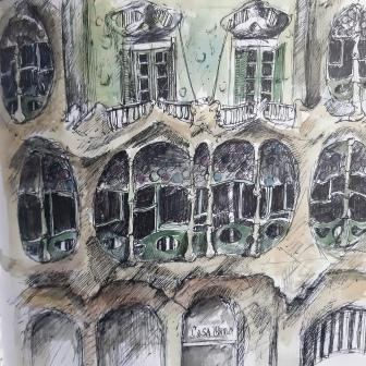 Casa Battlo, Barcelona, pen and wash, 25cm x 25cm 2014