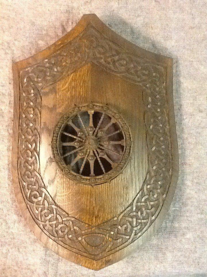 Carved oak shield